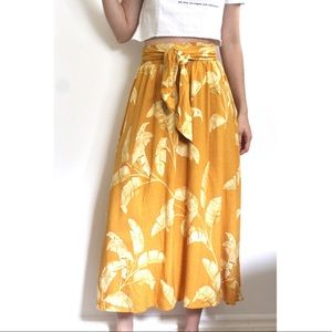 Mustard yellow long summer skirt